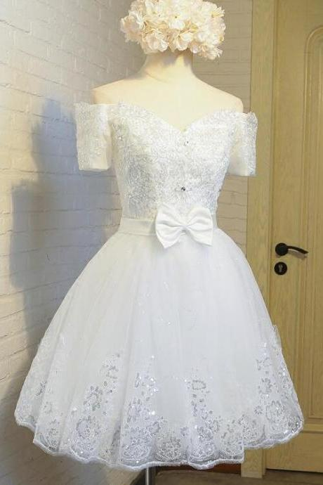 Cute White Off Shoulder Tulle Sweetheart Party Dress, Adorable Teen Party Dresses, Lovely Girl Dresses