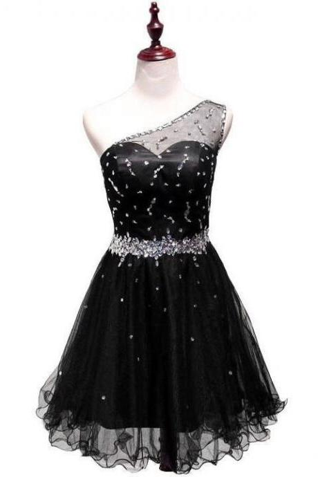 Black One Shoulder Simple Homecoming Dresses, Beaded Tulle Short Party Dress, Cute Party Dresses