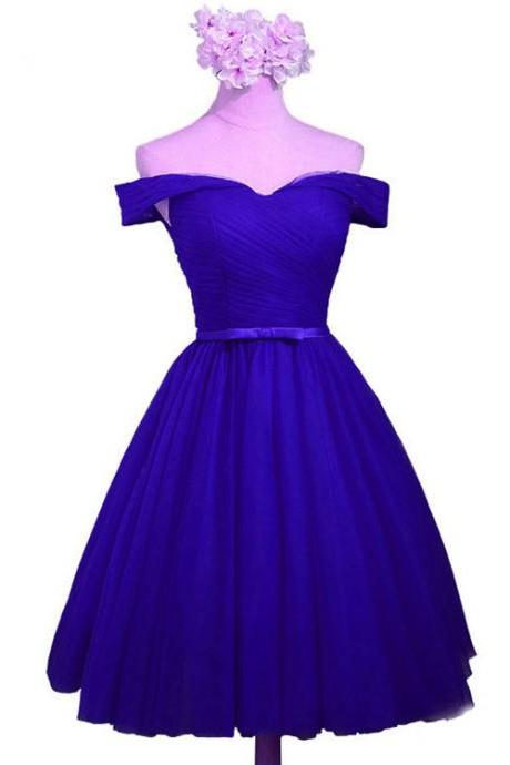 Royal Blue Knee Length Formal Dress, Blue Party Dresses, Royal Blue Formal Dresses