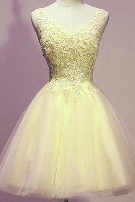 Light Yellow Party Dress, Short Homecoming Dresses, Yellow Short Prom Dress 2018