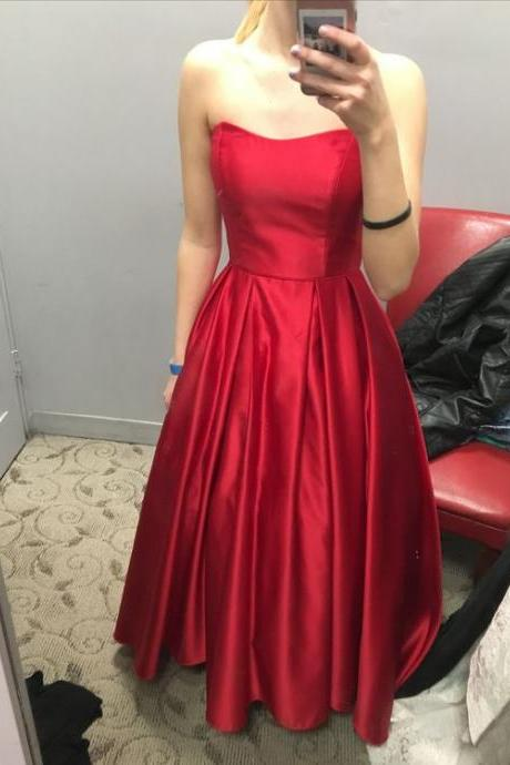 Gorgeous Red Satin Scoop Floor Length Handmade Party Dress, Red Formal Dress, Red Evening Gowns