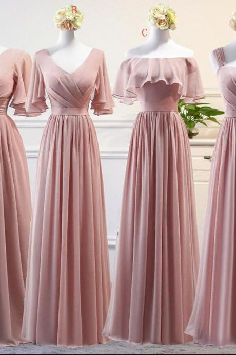 Beautiful Dark Pink Mismatch Chiffon Long Bridesmaid Dresses, A-line Bridesmaid Dress 2018, Formal Gowns