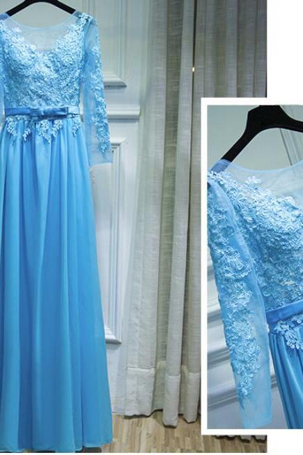 Light Blue Chiffon Long Sleeves Formal Dress with Lace Applique, Blue Wedding Party Dress