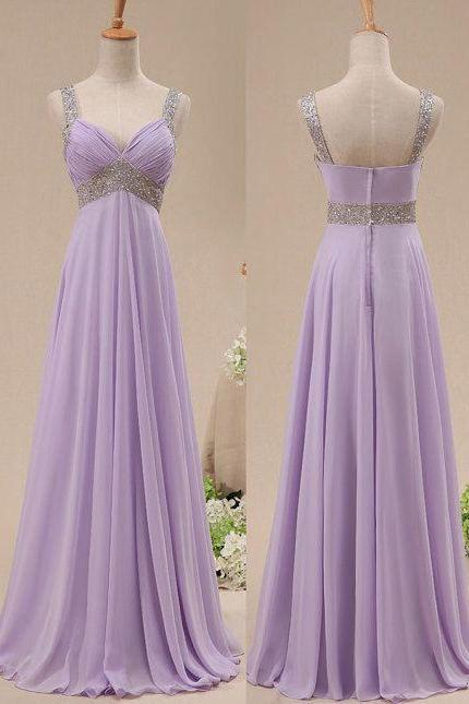 Beautiful Chiffon Lavender Floor Length Sequins Bridesmaid Dresses, Pretty Bridesmaid Dresses, Straps Formal Gowns