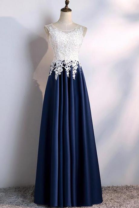 Navy Blue Satin with White Lace Top Floor Length Party Dresses, Prom Dresses, Beautiful Wedding Party Dresses
