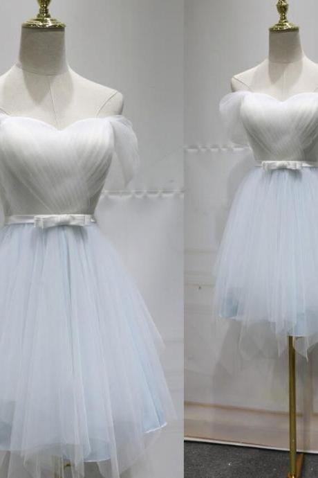 White and Light Blue Adorable Knee Length Party Dress, Cute Party Dress 2018, Beautiful Lovely Dresses