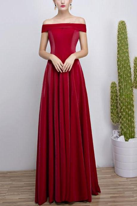 Beautiful Red Off Shoulder Velvet Long Party Gowns, A-line Formal Dresses, Pretty Evening Gowns