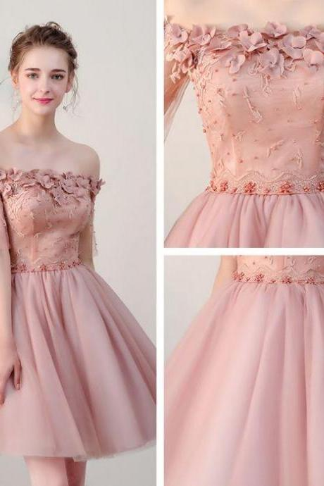 Pink Off Shoulder Flowers Tulle Cute Short Prom Dress, Homecoming Dresses 2018, Lovely Party Dresses