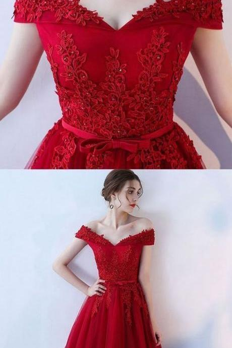Red Off Shoulder Homecoming Dresses, Simple Party Dresses, Prom Dress 2018, Formal Dress for Sale