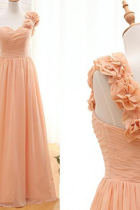 One Shoulder Chiffon Party Dresses, A-line Wedding Party Dresses, Formal Gowns