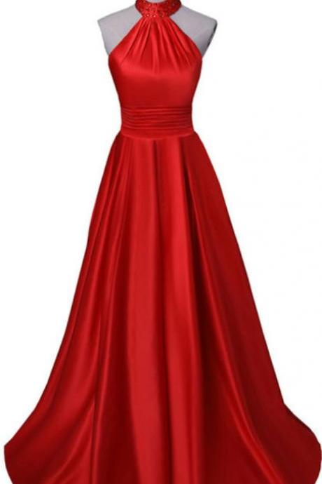 Red Long Party Dresses, Halter Satin High Quality Formal Dresses, Red Formal Gowns