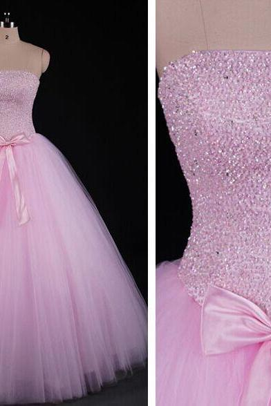 Pink Sweet 16 Gowns, Gorgeous Tulle Ball Gowns, Handmade Formal Dresses