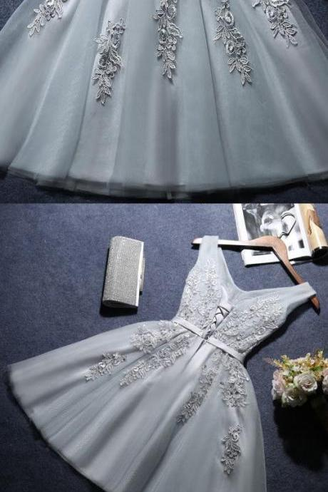Grey A-line Homecoming Dress,V-neck Homecoming Dress, Tulle and Applique Party Dress 2018