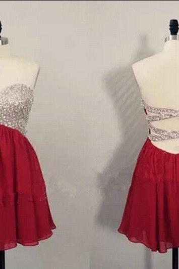Sweetheart Wine Red Chiffon Beaded and Sequins Homecoming Dresses, Cross Back Party Dresses