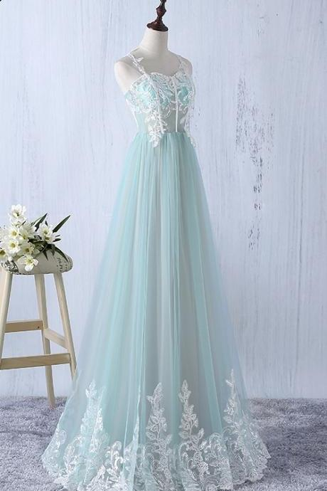 Beautiful Elegant Tulle Long Spaghetti Straps Formal Gowns, A-line Tulle Party Dress, Pretty Party Dresses