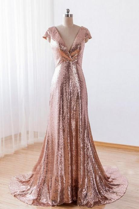 Sequins Pink A-line Bridesmaid Dresses, Cap Sleeves Deep V-neckline Formal Gowns, Wedding Party Dresses