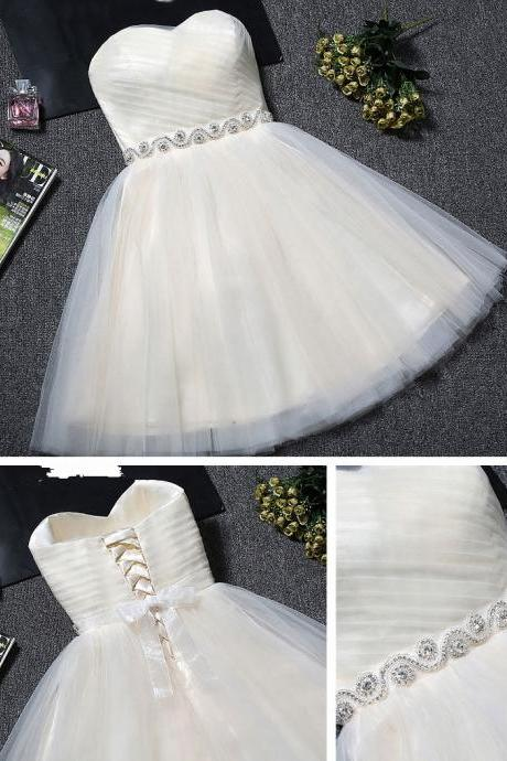 Lovely Ivory Tulle Lace-up Graduation Dresses, Short Prom Dresses, Prom Dress with Belt