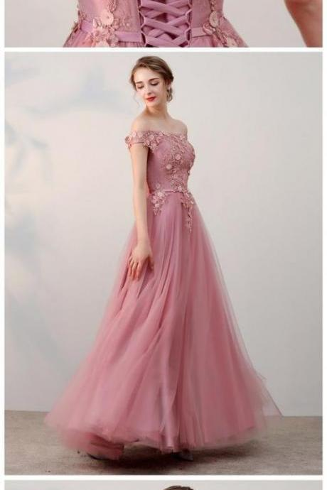 Dark Pink Off Shoulder Tulle Long Formal Gowns, Applique Handmade Evening Dresses, Prom Dress 2018