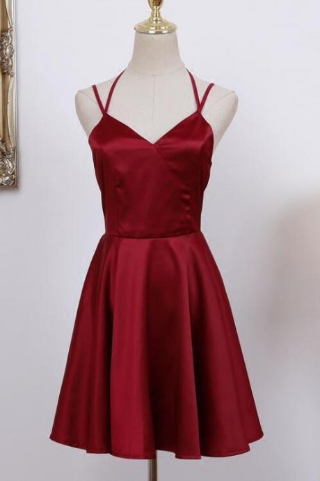 Lovely Straps Short Wine Red Homecoming Dress, Cute Formal Dress, Satin Party Dress