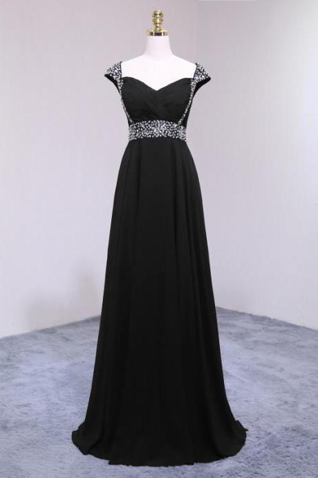 Charming Black Chiffon Featuring V Neckline And Cap Sleeve Prom Dress, Black Party Gowns for Formal