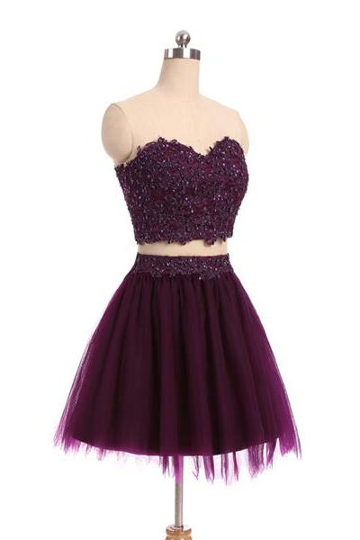 Two Piece Dark Purple Tulle Homecoming Dress, Sweetheart Applique Cute Formal Dress