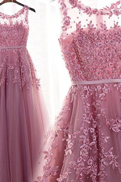 Dark Pink Tulle Round Neckline Long Beaded Elegant Party Dress, Wedding Party Dress, Charming Formal Dresses
