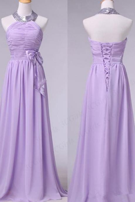Simple Chiffon Lavender Bridesmaid Dresses, Halter Bridesmaid Dresses, Formal Dresses, Long Party Gowns