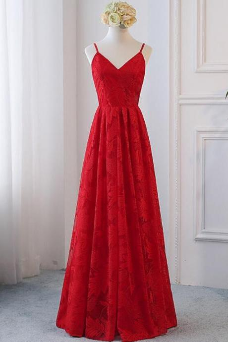Beautiful Red Straps Lace V-neckline Prom Dress, Red Formal Gowns, Red Party Dresses 2019