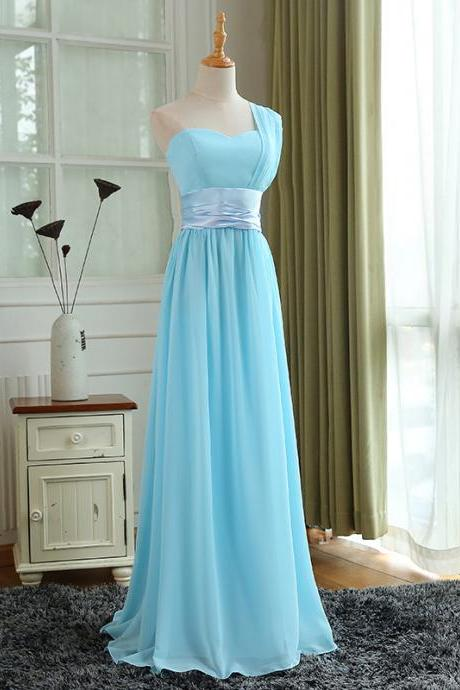 Light Blue Bridesmaid Dress, Pretty Blue Wedding Party Dress, Formal Gowns