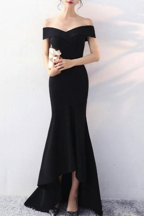 Black Off Shoulder High Low Evening Gowns, Black Party Dress, Black Prom Dresses