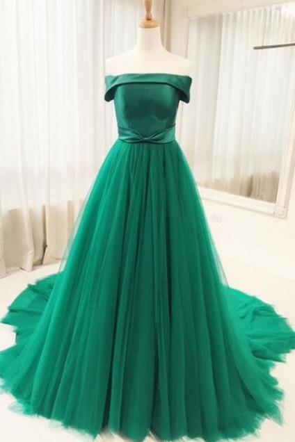 Green Tulle Sweep Train A Line Prom Dresses, Pretty Party Dresses 2019