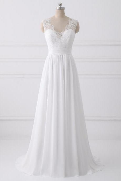 Simple A-line Chiffon and Lace Bridal Gowns with Bow, Lovely Party Dresses, Simple Wedding Dresses