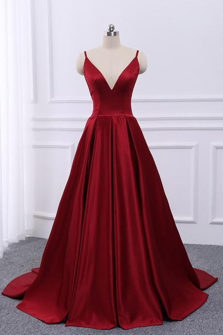 Straps Satin Sexy Wine Red Cross Back Long Prom Dress 2019, Long Formal Gowns, Satin Party Dresses
