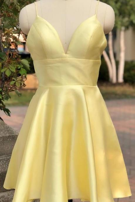 Light Yellow Homecoming Dresses, Cute Short Prom Dresses, Party Dress 2019