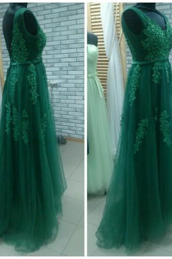 Green Tulle Prom Dress 2019, Beautiful Party Dresses, Green Wedding Party Dresses