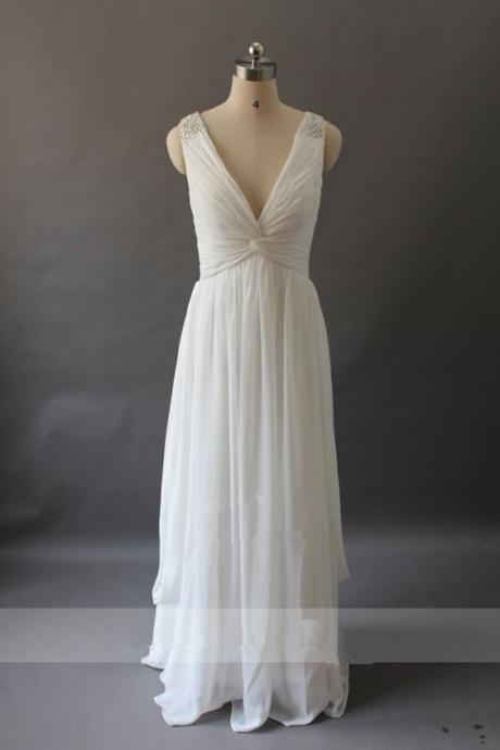 Simple V-neckline Beach Wedding Dresses, Chiffon Party Dresses, Beautiful Party Dresses