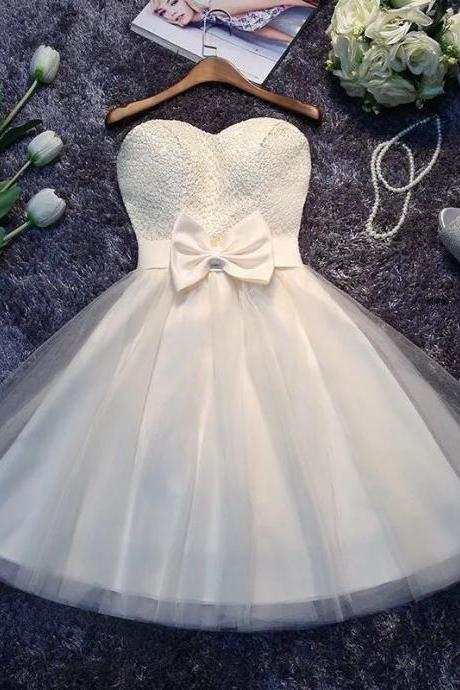 Ivory Cute Lace and Tulle Teen Formal Dresses, Short Prom Dress with Bow, Lovely Formal Dress