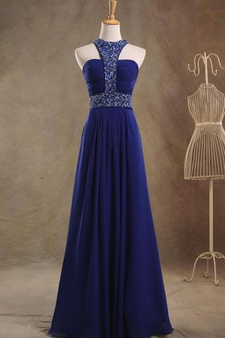 Royal Blue Sequins and Beaded Long Formal Gown, Blue Chiffon Junior Prom Dress