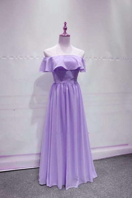 Lavender Chiffon Lovely A-line Bridesmaid Dress, Lavender Long Prom Dress, Prom Dress 2019