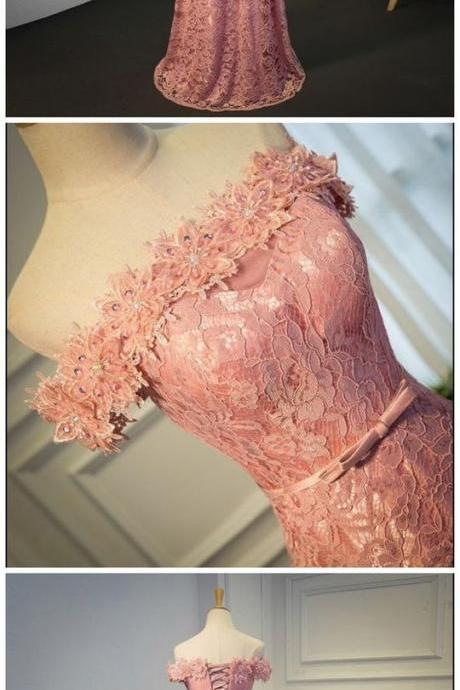 Lovely Pink Lace Off Shoulder Long Prom Dress 2019, Lace Wedding Party Dresses