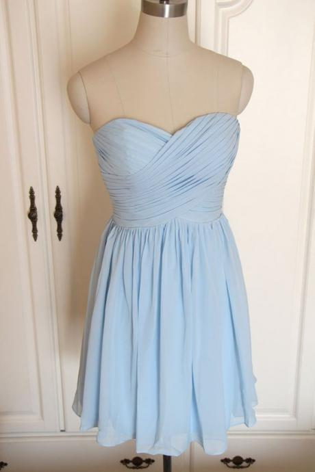Light Blue Chiffon Sweetheart Short Bridesmaid Dress, Charming Simple Bridesmaid Dress