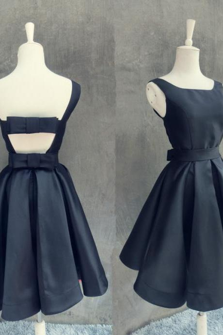 Black Satin Cute Formal Dresses, Lovely Short Prom Dress, Party Dress 2019