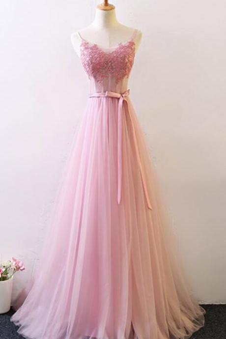 Pink Straps Tulle A-line Lace Applique Wedding Party Dress, New Style Prom Dress 2019
