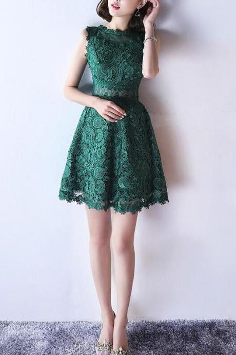 Green Lace See Through Back Short Round Neckline Party Dress, Lovely Lace Party Dress
