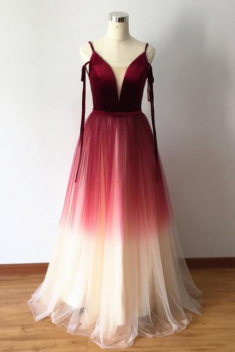 Gradient Red Velvet and Tulle Stylish Formal Dress, Charming Party Gowns, Prom Dress 2019