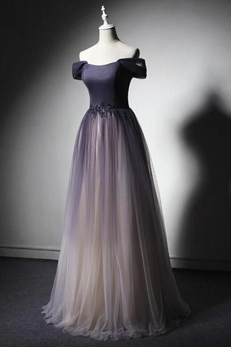Gradient Tulle Purple Long Junior Prom Dress, Lovely Prom Gowns, Party Dress 2019