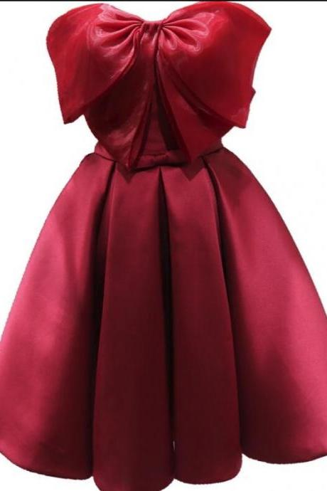 Red Satin and Organza Bow Short Cute Party Dress, Handmade Formal Dress 2019