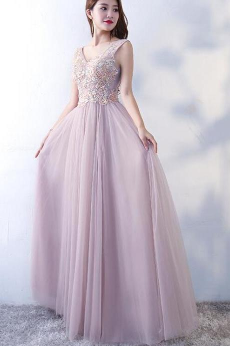 Beautiful Pink V-neckline Tulle and Lace Applique Party Dress, Prom Dress 2019, Formal Dress