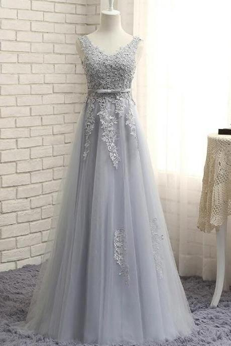 Pink V-neckline Party Dress 2019, Grey Wedding Party Dresses 2019