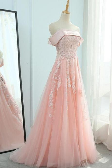 Pink Off Shoulder Satin and Tulle Floor Length Party Dress, Beautiful Formal Gowns 2019